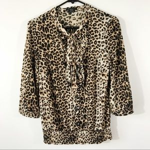Forever 21 Leopard Blouse With Elastic Waist, M
